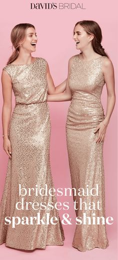 Picturing your bridal party in pretty sequin bridesmaid dresses? Shop David's Bridal sparkly bridesmaid dresses in gold & silver all in short & long styles! Bridesmaids And Groomsmen, Wedding Bridesmaids, Wedding Attire, Wedding Dresses, Perfect Wedding, Our Wedding, Dream Wedding, Trendy Wedding, Sequin Bridesmaid Dresses