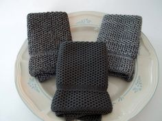 Dish Cloths Knit in Cotton in Anthracite by TheNeedleHouse on Etsy, $12.00