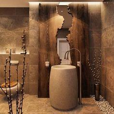 Banheiro Maravilhoso , Cuba de piso , feita de pedra. Detalhe para o Espelho…