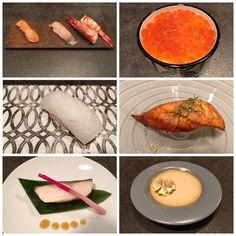Nigiri de gamba roja dorada marinada en sake y salmón marinado en miso; chawan mushi de caviar de salmón y caramelo de soja; nigiri de calamar de playa y de anguila de la Albufera kabayaki; bacalao negro saikyoyaki; flan de soja... y como estos todos los platos del menú kaiseki de @fierrovlc. De 10!  #sushi #kaiseki #nigiri #salmón #bacalaonegro #soja #anguila #caviar #calamar #cenandoFierro by gourmetvalencia