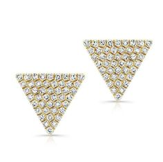 Yellow gold diamond large triangle olivia stud earrings online – Anne Sisteron