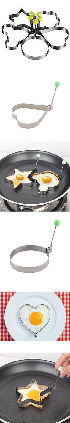 Fried Egg Mold Pancake Rings, Premium Stainless Steel Egg Shaper Ring Kitchen Tool Pancake Rings- 5 Pack,Stainless Steel