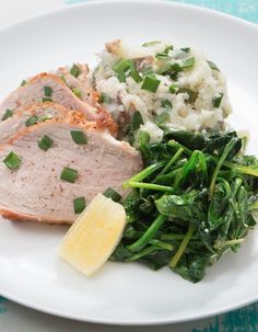 Roast pork makes for a delicious centerpiece—all it needs to shine are a couple of quick sides. In this dish, we're serving our pork with zesty sautéed spinach and smashed potatoes.