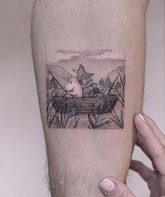 His childhood memory- snufkin and moomin . Love Tattoos, Body Art Tattoos, Tatoos, Piercing Tattoo, I Tattoo, Moomin Tattoo, Badger Tattoo, Comic Book Tattoo, Painting Tattoo