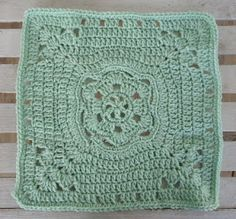 "One Crochet day at a Time ""BlueDragonFly Designs on a Hook"": AROUND A FLOWER 12"" SQUARE"
