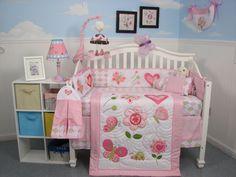 13 Pc Pink Girls Butterfly Heart Crib Set Nursery Bedding Curtains Diaper Bag #soho