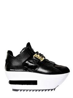 Y-3 Neoprene Calfskin Kyura Wedges in Black (black/white) sold out