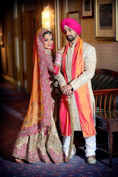 #KnotsAndHearts | #Beautiful ! Jaat da viya - desi wedding  love the color theme on both the bride and the groom!