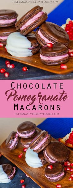 These chocolate pomegranate macarons are the perfect combination of flavor! The sweet, chocolate-y almond shell compliments the tart pomegranate butter cream, creating an unforgettable treat! For extra chocolate flavor, try dipping them into melted chocolate. Watch my video recipe for all the details!