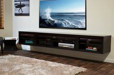 Awesome wall hanging entertainment center for mounted tv home design insigh Wall Mount Entertainment Center, Entertainment Center Decor, Entertainment Units, Living Room Tv Wall, Wall Mount Tv Stand, Space Tv, H & M Home, Play Kitchens, Espresso