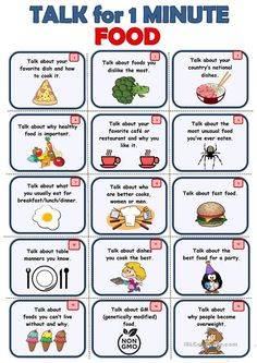 FOOD - Speaking cards - English ESL Worksheets for distance learning and physical classrooms Learning English For Kids, English Teaching Materials, English Lessons For Kids, Home Learning, Teaching English, Primary Teaching, Elementary Teaching, English Activities For Kids, Esl Learning