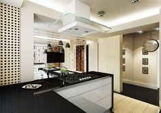 Projekt wnętrz kuchni w Pruszkowie w nowoczesnym stylu -Tissu. W pomieszczeniu zastosowano duże czarne płaszczyzny kamiennych blatów oraz lustrzane kafle, które powiększą o rozświetlą dość ciemne pomieszczenie, a jednocześnie dzięki frezowanym podziałom  nie będą w sposób jednoznaczny odbijać kuchni. http://www.tissu.com.pl/zdjecia/230