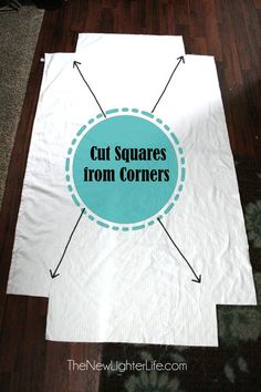 cutting-corners-for-fitted-sheets.                 How to make fitted sheets from flat sheets