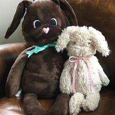 Create your own comfort bunny, with a little weight. The weight helps to feel like a constant hug. Download the free pattern in two sizes on weallsew.com.   #stuffedbunny #diyplushanimal #diyplushbunny #bunnypattern