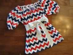 Patriotic Chevron Peasant Dress in Red, White and Blue, Cap Sleeves...sizes Girls 6-10/12 on Etsy, $44.00