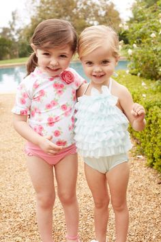 Janie and jack tulle swimsuit on right, has matching swim cap and sunglasses (!)