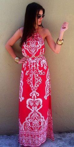 Red Flowers Shoulder-Strap Belt Round Neck Maxi Dress