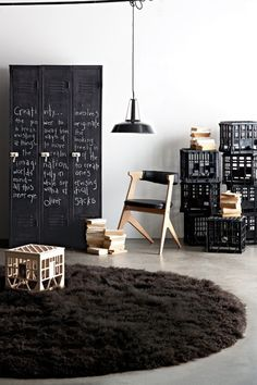 Black accents // chalkboard painted lockers industrial interior barefootstyling.com