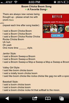 I said a boom chicka boom! http://www.boyscouttrail.com/content/song/boom_chicka_boom-27.asp