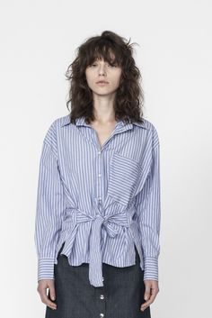 Shop the Long Sleeve Shirt With Waist Tie Details in Stripe Cotton on Well Made Clothes now! #ethicalfashion #sustainablefashion #ethicalclothing #womensfashion #fashion #clothes #springclothes #springstyle #springfashion #frenchfashion #frenchwardrobe #frenchstyle #5piecefrenchwardrobe #stripedshirt #han #wellmadeclothes