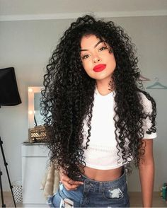 Uhair Indian Virgin Hair Kinky Curly 4 Bundles With Lace Closure Curly Hair With Bangs, Short Curly Hair, Hairstyles With Bangs, Weave Hairstyles, Curly Hair Styles, Natural Hair Styles, Curly Wigs, Black Wig, Human Hair Extensions