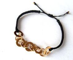 jewels macrame bracelet bracelets black goldplated bracelet chains