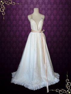 Beach Grecian Boho V Neck Goddess Wedding Dress with Cross Back  Julie