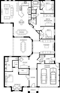 Bridgeport 34 floor plan eden brae homes mal note : add a metre to back bed Modern House Floor Plans, Home Design Floor Plans, New House Plans, Dream House Plans, Mansion Floor Plans, 4 Bedroom House Plans, House Blueprints, Craftsman House Plans, Sims House