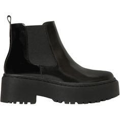 Jeffrey Campbell Women 55mm Universal Brushed Leather Boots ($230) ❤ liked on Polyvore featuring shoes, boots, black, rubber sole boots, platform boots, black leather boots, platform shoes and jeffrey campbell boots