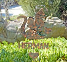 ON SALE Bichon Frise Garden Stake Metal Garden Art Copper Art