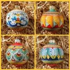 #Deruta Italian Hand-Painted Christmas Ornaments