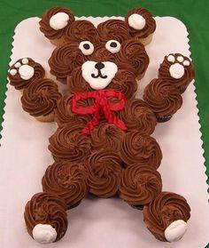 Ideas For Cupcakes Cakes Pull Apart Bear Teddy Bear Cupcakes, Teddy Bear Party, Panda Cupcakes, Pull Apart Cupcake Cake, Pull Apart Cake, Cupcakes Cool, Cute Cakes, Cupcake Torte, Bear Cakes