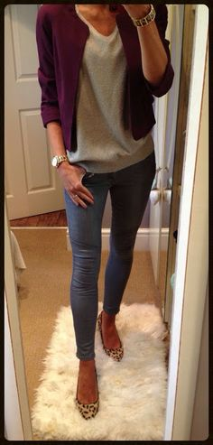 Cute for work casual  Unsure of the lighter jean wash White shell instead if pale grey  What would this look like with beige kitten heels?
