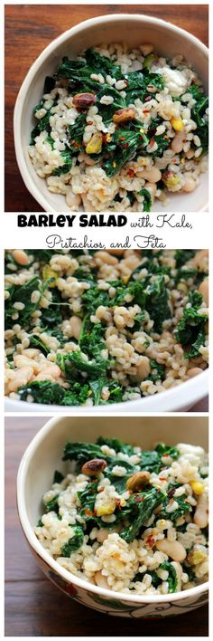 When warm weather hits, grain salads make for the perfect light meal. This barley salad with kale, pistachios, and feta is a great summer side or dinner salad. Barley Salad, Soup And Salad, Healthy Salads, Healthy Eating, Healthy Sides, Healthy Cooking, Healthy Foods, Vegetarian Recipes, Cooking Recipes