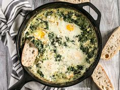 Make these fast and easy Creamed Spinach Baked Eggs using items you probably have in your pantry. A little feta on top takes it to the next level! Spinach Bake, Spinach Egg, Creamy Spinach, Brunch Recipes, Breakfast Recipes, Breakfast Ideas, Brunch Foods, Breakfast Skillet, Breakfast Dishes
