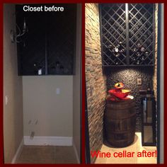 Amazing transformation of an under the stairs closet! Cool wine cellar!