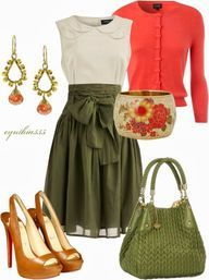 cute outfits   skirt love   green, natural and peach!