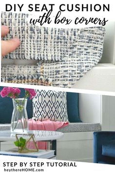 DIY bench seat cushion tutorial - it's easy to update or upholster a bench seat cushion for any bench or window seat with the fabric of your choice. Click through to find the full tutorial! #sewing #handmade #fabric #sewingtutorial #bench #textiles #coastaldecor #diyhomedecor #diyproject #decoratingideas #howto #moderndecor #builtins #windowseat #livingroomideas #livingroomdecor #familyroom #blueandwhite Sewing Tutorials, Tutorial Sewing, Diy Sewing Projects, Coastal Decor, Diy Home Decor, Diy Bench Seat, Cushion Tutorial, Diy Pillows, Floor Pillows