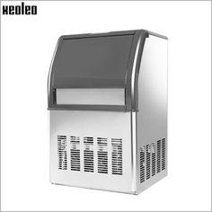 Xeoleo Comercial máquina de hielo 50 kg/24 h de acero Inoxidable de la máquina de Hielo máquina De hacer Hielo 10 kg de almacenamiento para burbuja de té/café/Bar