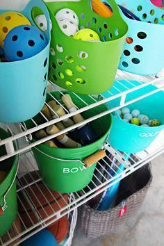 For many of us in the US, now is not the optimal time of year to be reorganizing the garage. But that doesn't mean we can't plan for warm weather organizing now! I have rounded up several smart garage organization ideas, each of which use supplies that c Dollar Store Hacks, Dollar Store Crafts, Dollar Stores, Playroom Organization, Organization Hacks, Organizing Life, Diy Toy Storage, Garage Storage, Storage Ideas