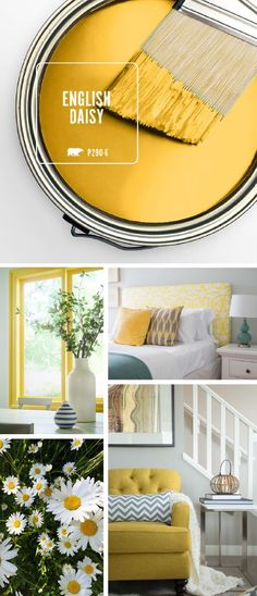All of the warmth and vibrant colors of summer are captured in one stylish hue with BEHR's Color of the Month: English Daisy. This rich golden yellow works great as a bright accent color when paired w Room Colors, Wall Colors, House Colors, Yellow Paint Colors, Behr Paint Colors, Golden Yellow Color, Gray Green, Accent Colors, Interior Paint Colors