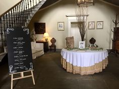 Wedding blackboard and decorations - Scottish castle wedding - Wedderburn Castle