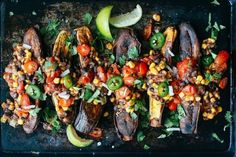 Caribbean Plantain & Bean Boats is a delicious naturally gluten free and meatless entree utilizing carbohydrate rich plantains and protein rich bean salad {recipe} Entree Recipes, Veggie Recipes, Vegetarian Recipes, Dinner Recipes, Healthy Breakfast Recipes, Healthy Eating, Healthy Recipes, Healthy Meals, Delicious Recipes