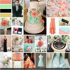 Coral, Mint, Black, and Gold Wedding