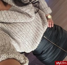 leather skirt paired with a sweater <3