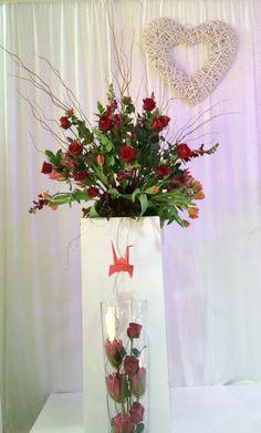 Origami bird in floral arrangement Origami Bird, Floral Arrangements, Glass Vase, Inspiration, Home Decor, Biblical Inspiration, Decoration Home, Room Decor, Flower Arrangements