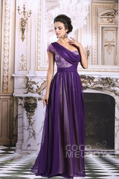 Graceful Sheath-Column One Shoulder Natural Floor Length Chiffon Purple Sleeveless Side Zipper Evening Dress with Beading COSF15019