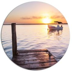 "DesignArt 'Boat View From Boardwalk on Beach' Seashore Photographic Print on Metal Size: 11"" H x 11"" W x 1"" D"
