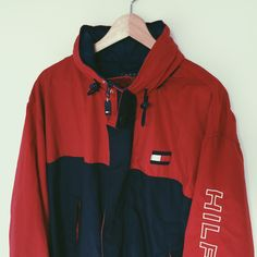 e7d141f83 Listed on Depop by mellowhill. Tommy Hilfiger, Windbreaker, Rain Jacket ...