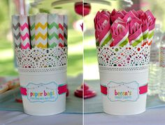 COLORFUL SWEET SHOPPE BIRTHDAY PARTY! Cutlery display